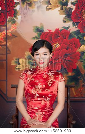 beautiful young Asian woman dress traditional