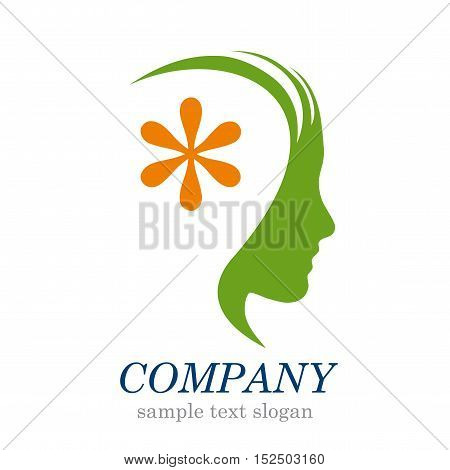 Vector sign Head with asterisk, illustration isolated in white
