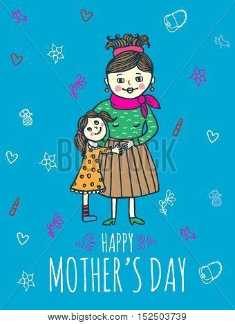 Happy Mother's day card with mum and daughter. Vector illustrated card.