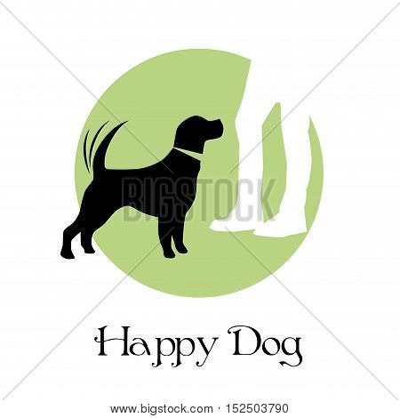 Vector sign happy dog, illustration isolated in white