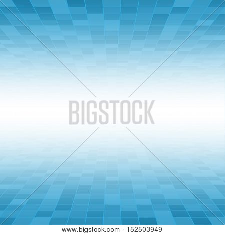Mosaic Tile Square Vector Background. Perspective Halftone Fone. Blue Background. Vector illustration for Web Design.