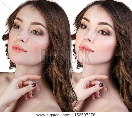 Comparison portrait of a girl before and after retouch