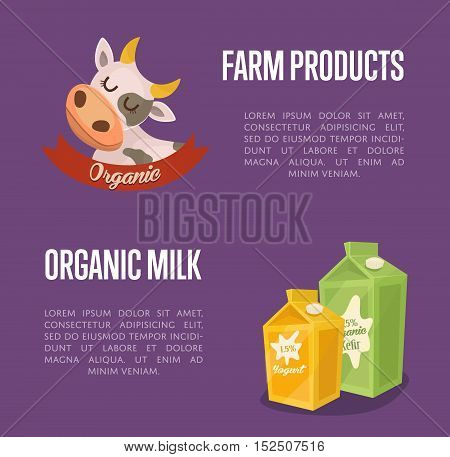 Dairy banner with cartoon cow symbol, kefir and yoghurt carton packages isolated vector illustration. Locally grown and healthy natural milk products. Organic food and dairy product concept. Milk product icon. Cartoon dairy product. Dairy icon.