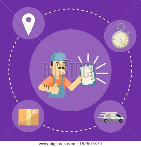 Smiling delivery man in uniform with clipboard isolated on perpl background. Fast delivery banner, vector illustration. Professional courier service. Postman character. Professional delivery man concept. Delivery service concept. Delivery man with tasks.