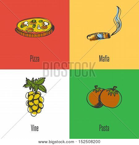 Italy national symbols. Italian pizza, mafia boss cigar, branch grapes, tomato pasta colored hand drawn doodles vector icons with caption on colored backgrounds. Italy foods icons. Travel to Italy symbol concept. Discover Italy. Elements of Italy for trav