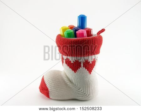 pen holder made of knitted sock and axis is a plastic cup, stationery storage devices handmade craft