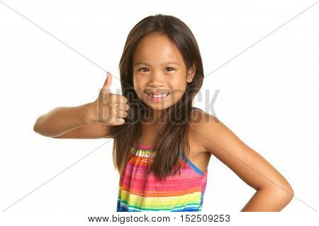 Cute Filipino Girl on a white background giving a thumbs up and a smile.