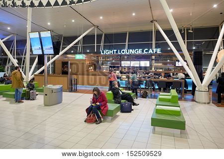 AMSTERDAM, NETHERLANDS - CIRCA NOVEMBER, 2015: Light Lounge Cafe at Schiphol Airport. Amsterdam Airport Schiphol is the main international airport of the Netherlands.