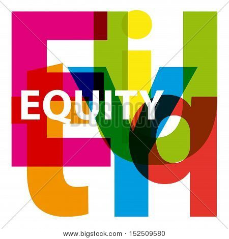 Vector equity. Isolated confused broken colorful text