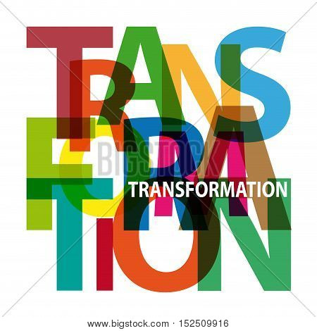 Vector transformation. Isolated confused broken colorful text