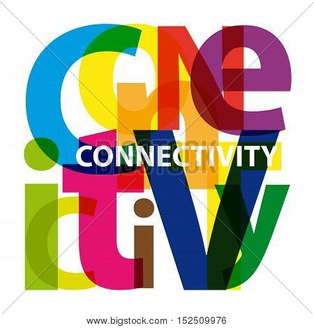 Vector connectivity. Isolated confused broken colorful text