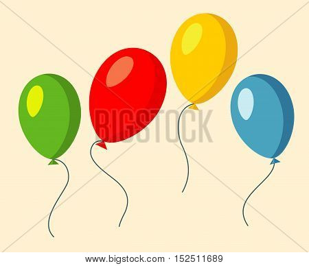 Set of four colorful baloons red green and yellow vector illustration
