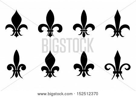 Fleur de lis vector set in black isolated over white background illustration