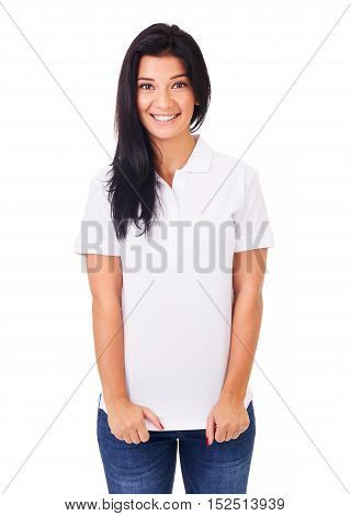 Smiling Woman In White Polo Shirt On A White Background