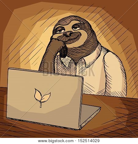 Sloth office worker. Sketch hand drawn cartoon vector illustration