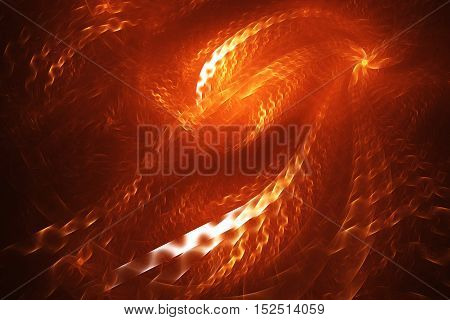 Fiery swirl. Abstract glowing shapes on black background. Fantasy fractal design in white and orange colors. Digital art. 3D rendering.