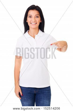 Smiling Woman Showing Empty Copyspace On White Polo Shirt
