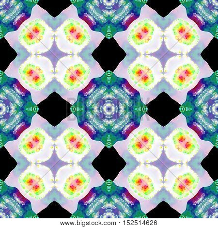 Kaleidoscopic ornamental abstract generated floral pattern texture