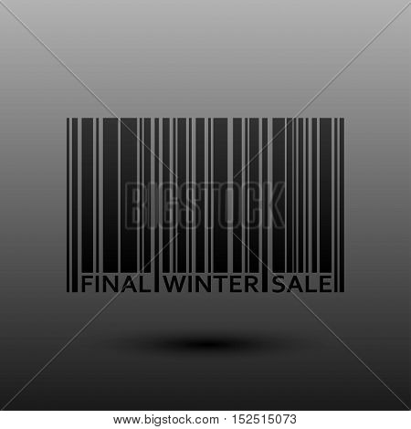 Vector abstract barcode. Winter final sale. Eps 10. Black bars of varying sizes.