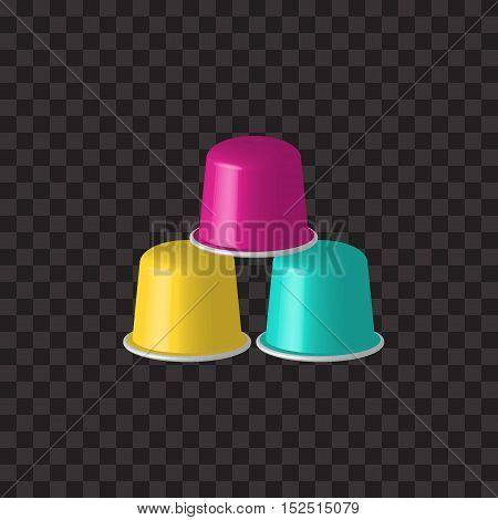 3D vector multicolored coffee capsules. Multicolored coffee pods for coffee machine. Coffee capsules, pods isolated on black. Espresso, cappuccino capsules.