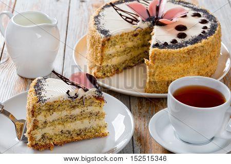 Sponge Cake With Poppy Seeds Layered With Cream
