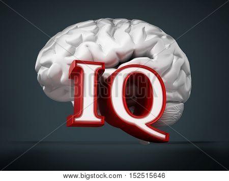Human brain and IQ word on black background. 3D illustration.