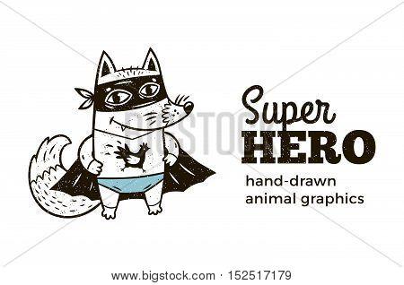 Superhero animal kids. Cartoon vector illustration. Little fox in superheroes costume. Hand drawn animal graphics. Super Hero icon