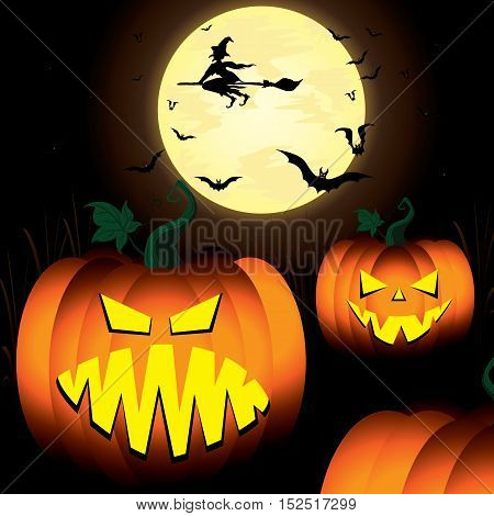 Halloween Pumpkin and Witch, Spooky, Tree, Bats in moon night sky.