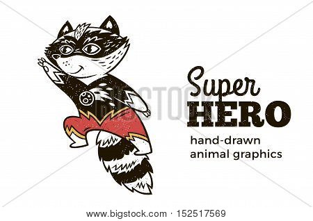 Superhero animal kids. Cartoon vector illustration. Little raccoon in superheroes costume. Hand drawn animal graphics. Super Hero icon