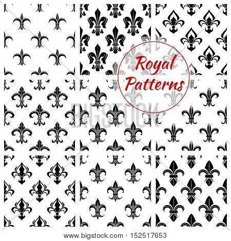 Royal fleur-de-lis seamless patterns with set of floral background with black and white french heraldic lily flowers. Wallpaper or fabric print, monarchy theme design