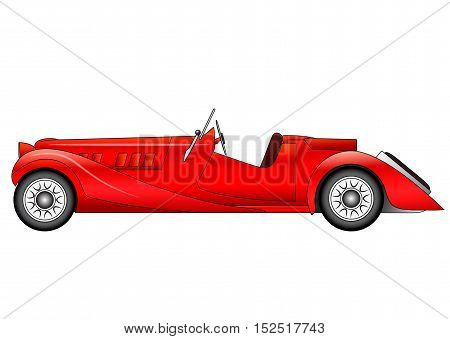 Illustration of the old classic race car on white background