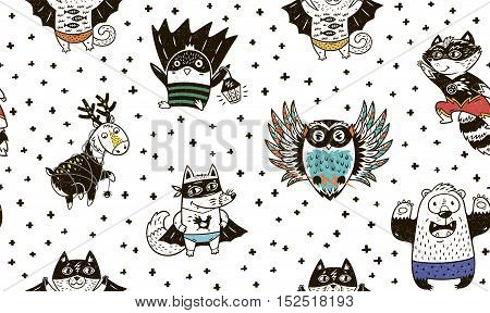 Superhero animal seamless pattern. Owl, deer, fox, cat, penguin, raccoon and bear in superheroes costume. Awesome childish background in cartoon style. Cute Superhero vector illustration.