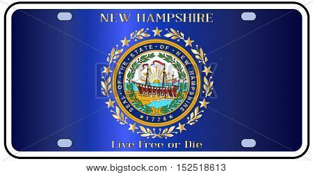New Hampshire license plate in the colors of the state flag with the flag icons over a white background