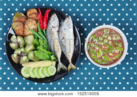 Thai local popular food as spicy shrimp paste dip ,