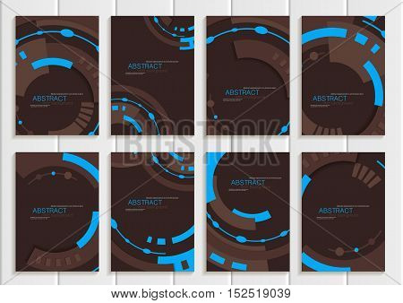 Stock vector set of brochures in abstract style. Design business templates with round, rectangular shapes on dark brown backgrounds for printed materials, elements, web sites, cards, covers, wallpaper