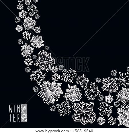 Snowstorm border frame. Winter polygonal trendy style snowflakes on black white background. Winter holidays snowfall concept winter label. Fall snowflake vector illustration stock vector.