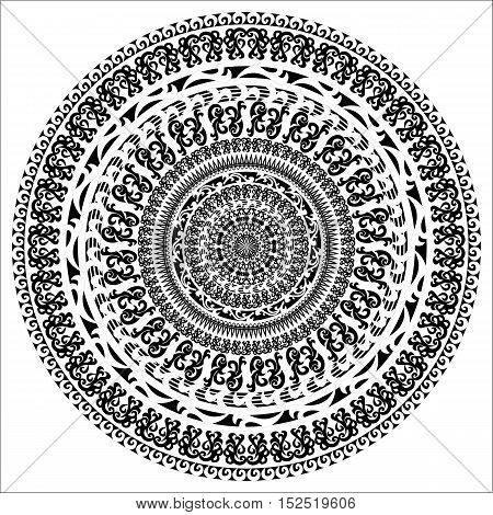 Ornament monochromatic card with mandala. Round ornamental vector shape isolated on white. Vector illustration in black and white colors.