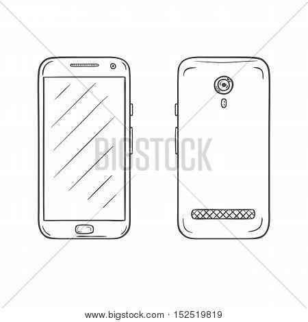 Vector sketch of smartphone. Set of two side, front and back with one main cntrol button. Hand drawn illustration