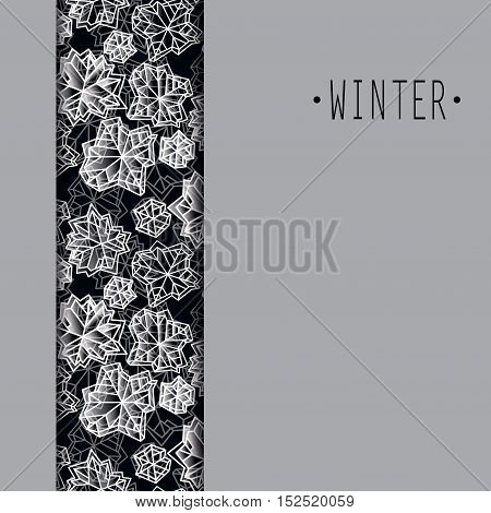 Vertical border frame. Winter polygonal trendy style snowflakes on black white background. Winter holidays snowfall concept winter label. Fall snowflake vector illustration stock vector.