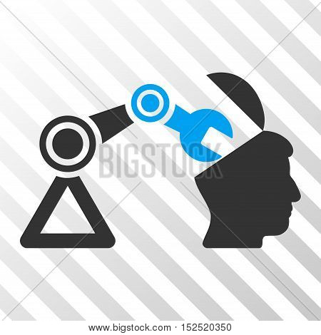 Blue And Gray Open Head Surgery Manipulator interface toolbar pictogram. Vector pictogram style is a flat bicolor symbol on diagonal hatch transparent background. poster