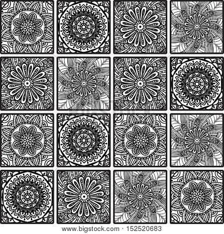 Colorful floral seamless pattern from squares with mandala in patchwork boho chic style, in portuguese and moroccan motif. Hand drawn vector stock illustration