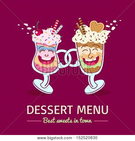 Dessert Menu Cover Template. Two Friends, Funny Cartoon Dessert Glasses Happy Smiling And Dancing. V