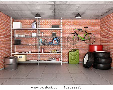 Interior garage with tools equipment and wheels. 3d illustration.