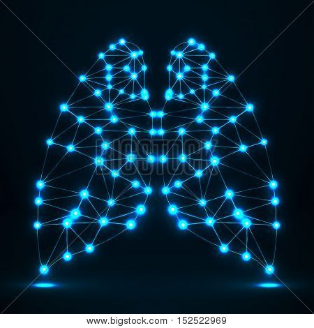 Abstract human lung network connections of lines and points, geometrical shape