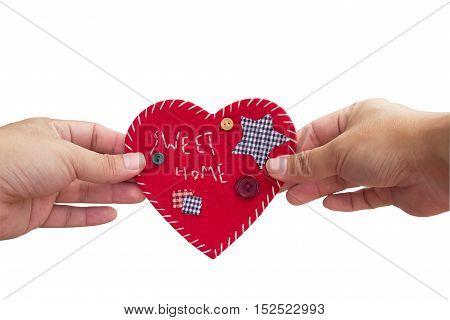 'Sweet Home' velvet sign on sky, heart shape, handmade, design