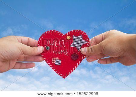 'Sweet Home' velvet sign on sky, handmade, design, heart shape