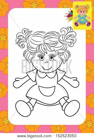 Cartoon doll toy. Coloring page. Vector illustration