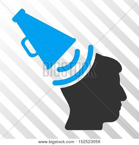 Blue And Gray Propaganda Megaphone toolbar pictogram. Vector pictogram style is a flat bicolor symbol on diagonal hatch transparent background.