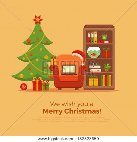 Christmas room interior in colorful cartoon flat style. Christmas tree, gifts, decoration, armchair, bookcase,  laptop, aquarium.   Cozy noel xmas night celebration interior vector illustration.