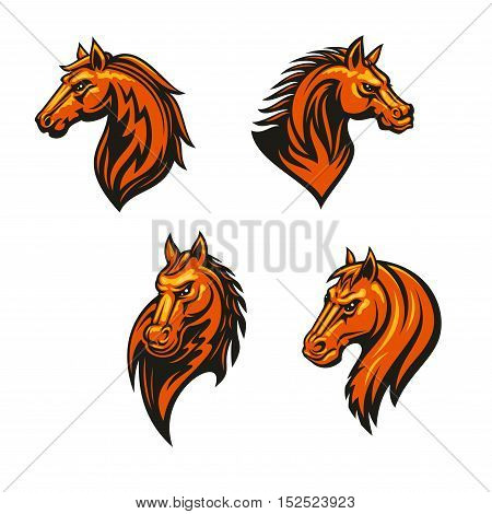 Tribal horse head with flaming mane icon set. Wild horse and mustang with tribal fire flame ornament. Sporting mascot, tattoo, equestrian theme design